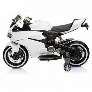 אופנוע דוקאטי ממונע לילדים עם גלגלי גומי אמיתיים – 12 וולט