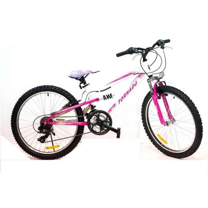 אופני הרים לילדים ונוער – טורנדו שיכוך מלא ורוד M4