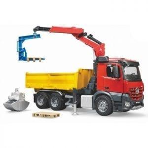 """משאית משא + מנוף """"מרצדס"""" – BRUDER"""