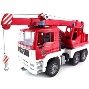 משאית MAN TGA מנוף אדום + סירנה – BRUDER