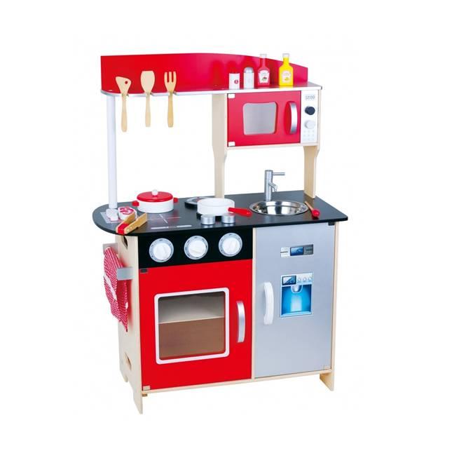 מטבח עץ מודרני אדום לילדים