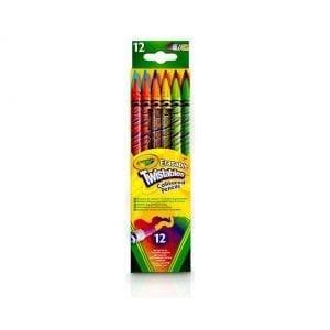 12 עפרונות צבעוניים מסתובבים עם מחק