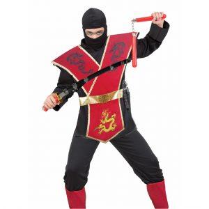 תחפושת נינג'ה לוחם הדרקונים אדום לבנים – פורים שושי זוהר