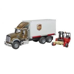 משאית UPS + מלגזה MACK – BRUDER