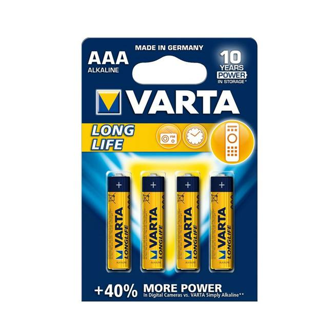 4 סוללות Varta AAA Alkaline