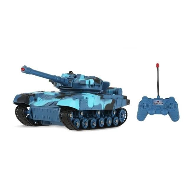 טנק קרב עם שלט רחוק RC – כחול תכלת שחור