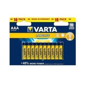 10 סוללות Varta AAA Alkaline
