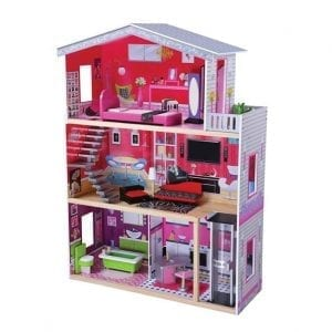 בית בובות מודרני מעץ + מעלית לילדים