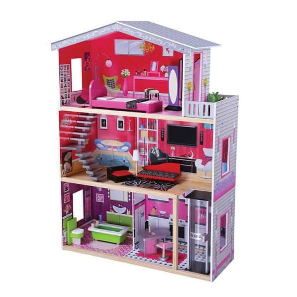 בית בובות מודרני מעץ + מעלית