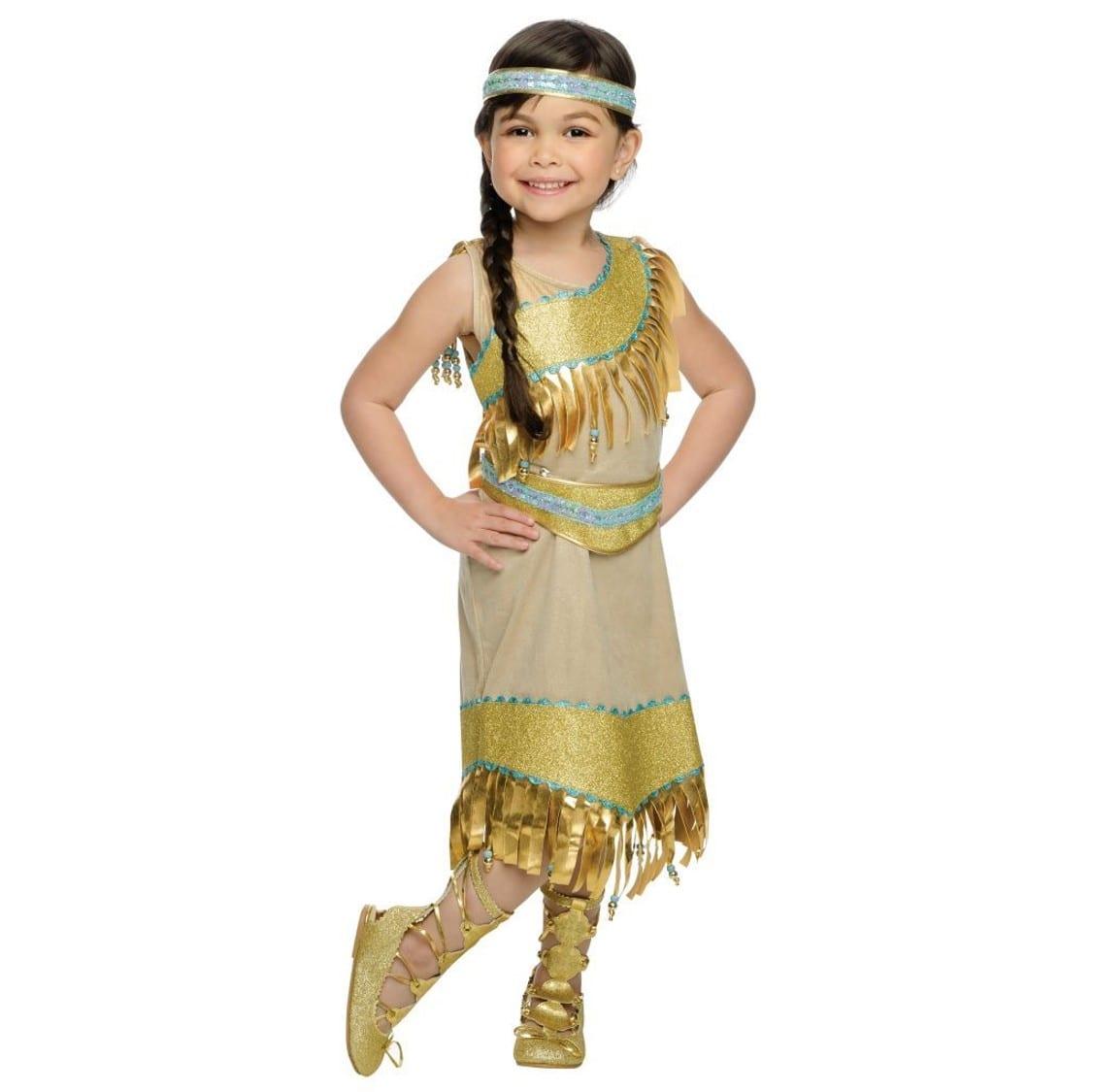תחפושת נסיכה אינדיאנית מוזהבת לילדות – פורים רוביס