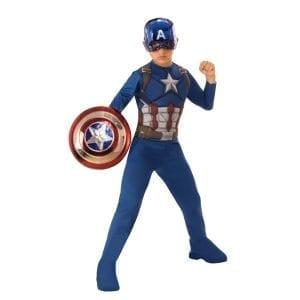 תחפושת קפטן אמריקה שרירי ומהודר + מגן מטאלי – פורים רוביס