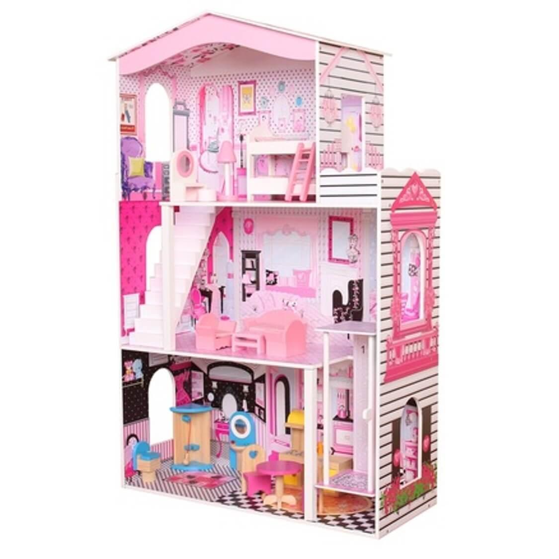 בית בובות מעץ לילדים כולל מעלית וריהוט מעץ