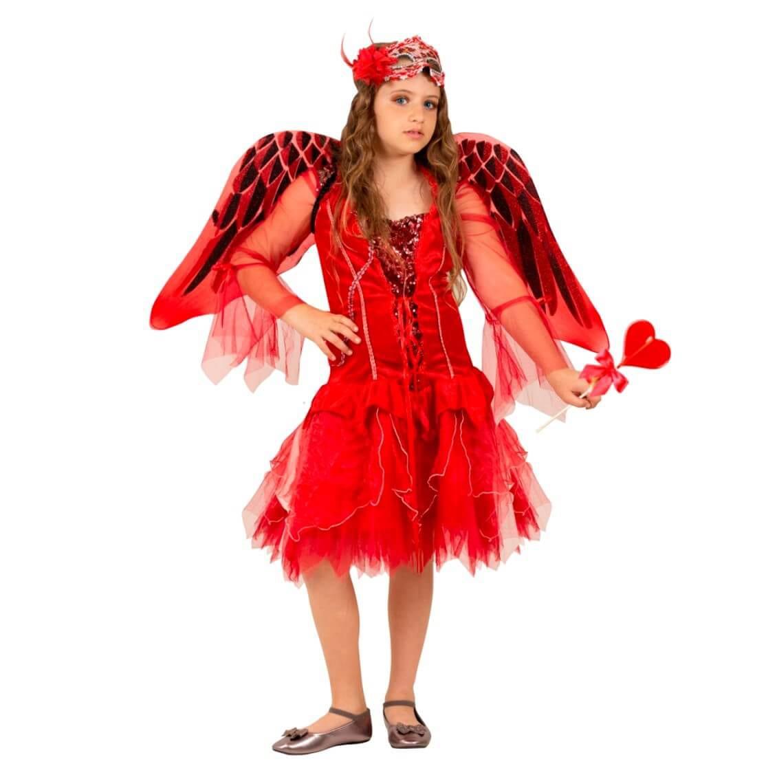 תחפושת מלאכית אדומה לנערות – פורים שושי זוהר