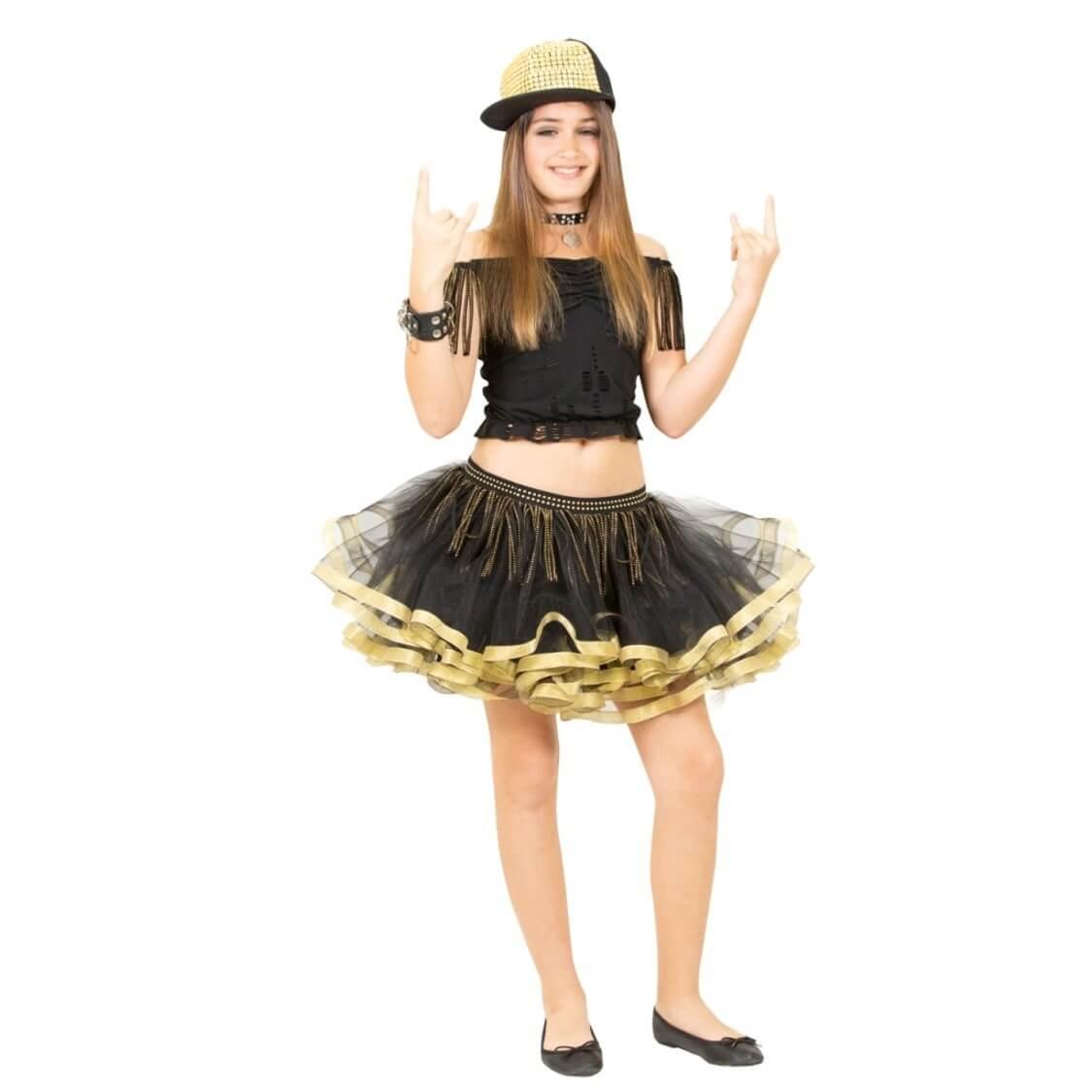 תחפושת נועה קירל כוכבת רוק שחורה זהובה לנערות  – פורים שושי זוהר