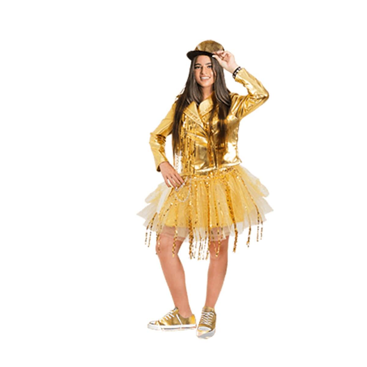 תחפושת נועה קירל – חצאית זהב לנוער  – פורים שושי זוהר