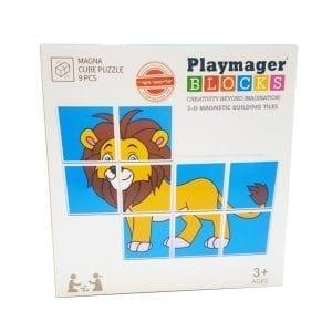 פליימאגר 9 קוביות פאזל ספארי – משחק מגנטים – מקורי!