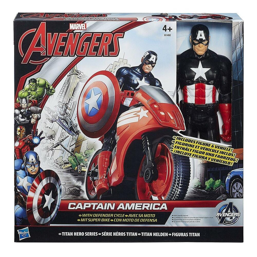 דמות קפטן אמריקה עם אופנוע