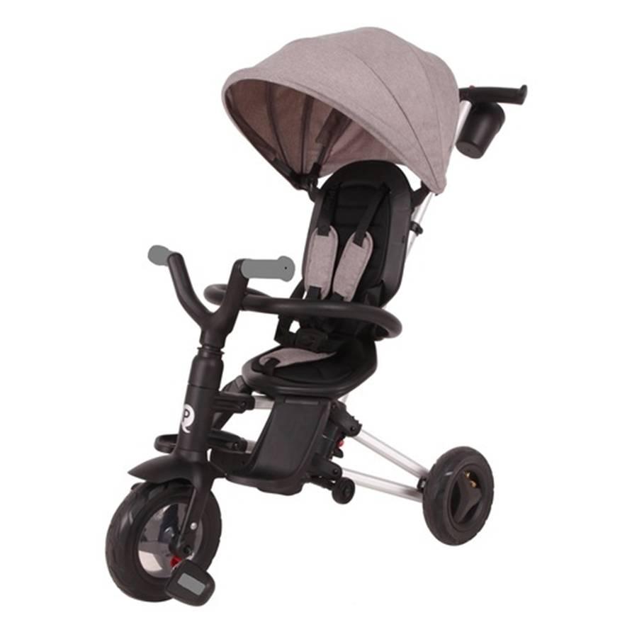 תלת אופן מתקפל עם כס מסתובב לתינוקות QPLAY NOVA דגם נובה – אפור בהיר