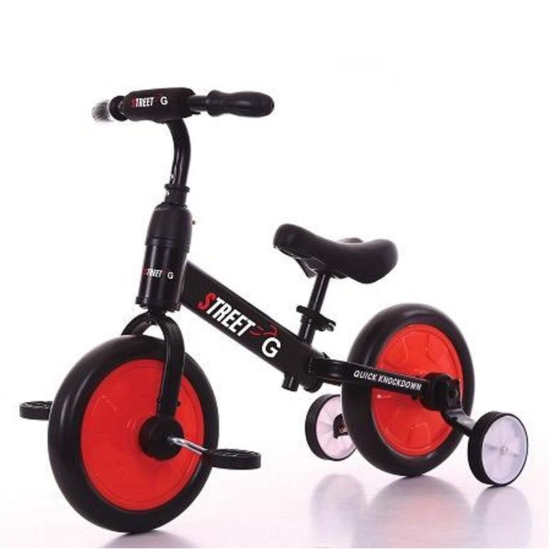אופני איזון 2 ב-1 עם גלגלי עזר מתקפלים ופדלים