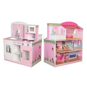 2 ב-1 בית בובות ומטבח מעץ לילדים