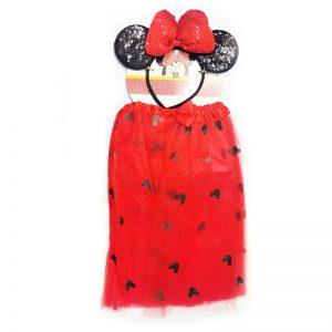 חצאית מיני מאוס אדומה עם קשת – פורים