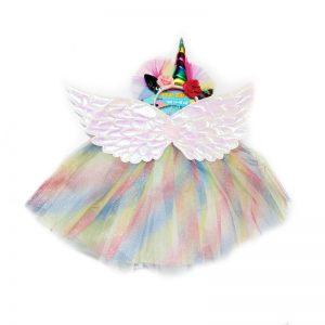 סט חצאית טוטו צבעונית עם קשת וכנפיים – פורים