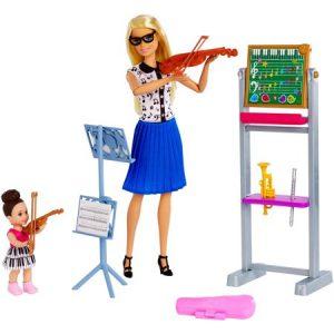 בובת ברבי מורה למוזיקה + תלמידה