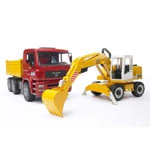 משאית MAN TGA גורר + מחפרון ליבהר – BRUDER