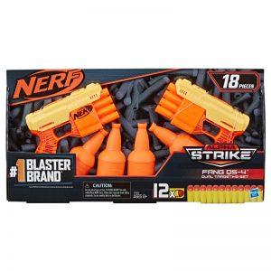 זוג אקדחי נרף עם מטרות בקבוק – NERF ALPHA-STRIKE FANG QS-4