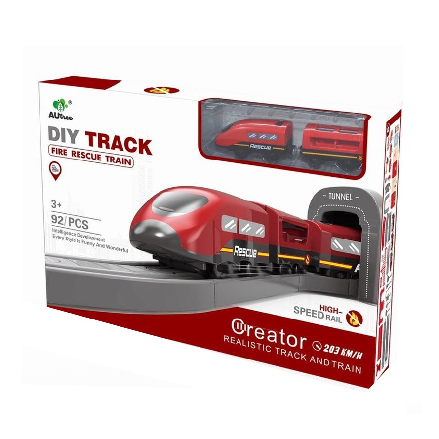 רכבת חשמלית 92 חלקים – עיר הרכבות סט כבאות