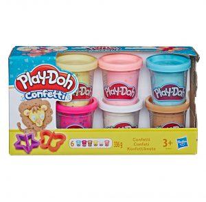 מארז מיני 6 בצקים קונפטי – פליידו משחקי בצק Play-Doh