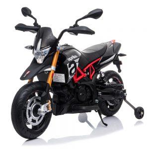 אופנוע אפריליה ממונע לילדים עם גלגלי גומי אמיתיים – 12 וולט