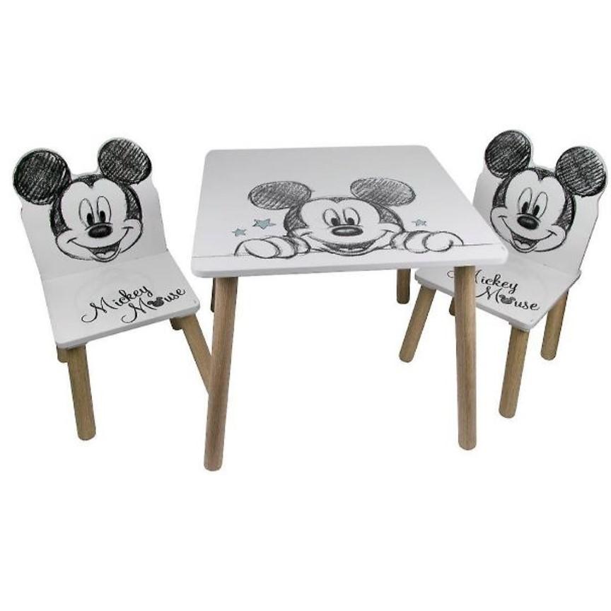 סט שולחן עץ עם שני כסאות מיקי מאוס
