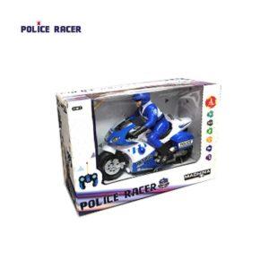 אופנוע משטרתי על שלט של חברת MACHINA